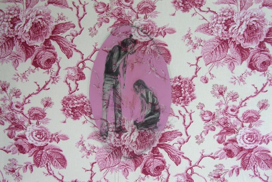 Agenou et fleurs roses_Prpopos sur le motif